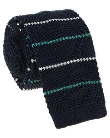 Robert Daniel Mens Knitted Tie Navy Blue