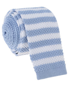 Robert Daniel Mens Knitted Tie Blue and White