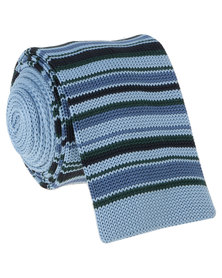 Robert Daniel Mens Knitted Tie Blue