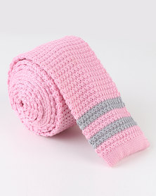 Robert Daniel Mens Knitted Tie Pink