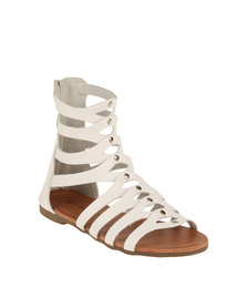 Rock n Co Arcess Mid Gladiator Sandal White