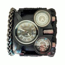ROK Armo Watch Black Case Black Band Chain and Braided Edging