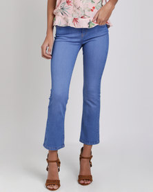 Ronald Sassoon Periwinkle Cropped Flare Jeans Blue