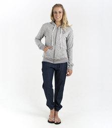Roxy Groovy Palm 1 Back Print Zip Thru Sweatshirt Grey