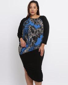 Ruff Tung Plus Talia Honeycomb Dress Blue