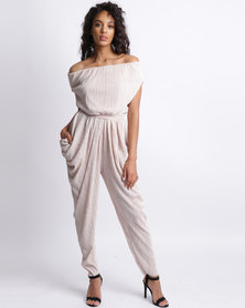 Ruff Tung Off Shoulder Pleat Jumpsuit Nude