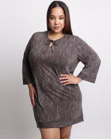 Ruff Tung Plus Tunic Stripe Dress Black