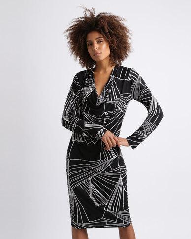Ruff Tung Cowl Neck Fan Print Dress Black