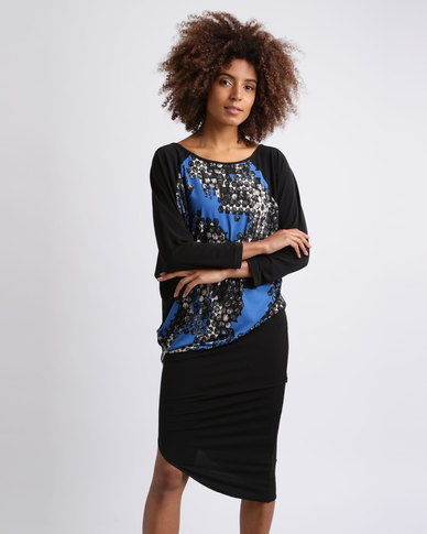 Ruff Tung Talia Honeycomb Dress Blue