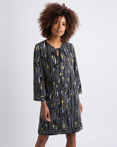 Ruff Tung Tunic Stripe Dress Black