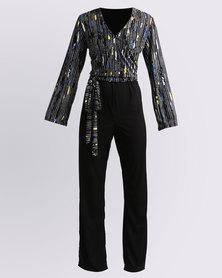 Ruff Tung Stripe Jumpsuit Black