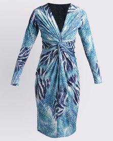Ruff Tung Twist Animal Print Dress Blue