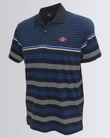 Stormers Yarn Dye Stripe Golfer Navy Blue