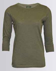 SA Rugby Scoop Neck 3/4 Sleeve T-Shirt Olive