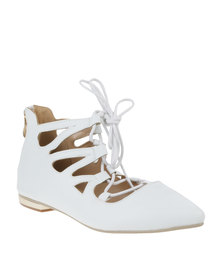 Sarah J MF Lace Up Pump White