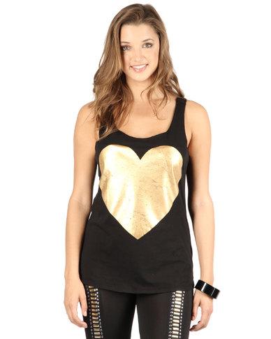 Sass Lauren Heart Tank Top Black