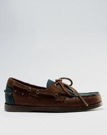 Sebago Leather Spinnaker Taupe/Brown/Blue