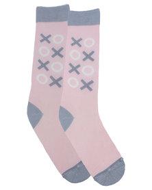 Sexy Socks Hugs and Kisses Pink