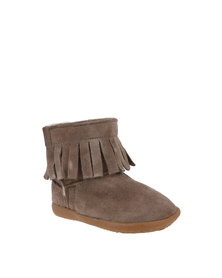 Shooshoos Moccasin Tassel Winter Boots With Genuine Wool Brown