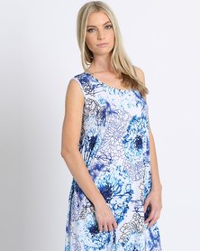 SIES!isabelle Laura Dress Blue Floral Print