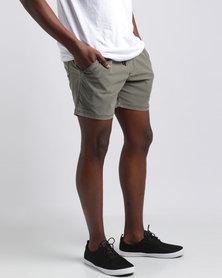 Silent Theory Numero Pull On Shorts Khaki