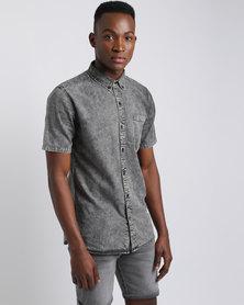 Silent Theory Worker Short Sleeve Shirt Grey