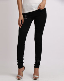 Sissy Boy After Dark Axel Skinny With Embroidery Jean Black