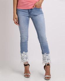 Sissy Boy Bohemian Axel Skinny With Crochet Hem Jeans Light Blue