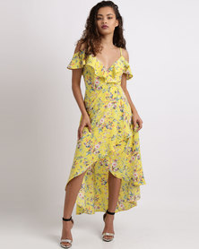 Sissy Boy Flora Printed Wrap Dress Yellow