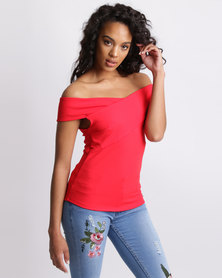 Sissy Boy Modern Fam Fitted Top In Scuba Crepe Red