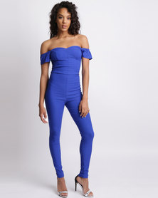 Sissy Boy Mandy Jumpsuit With Sleeve Frill Cobalt Blue
