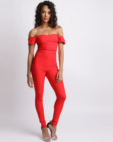 Sissy Boy Mandy Jumpsuit With Sleeve Frill Red