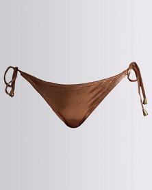 Sissy Boy Bronze Foil Tie Side Bikini Bottom Bronze