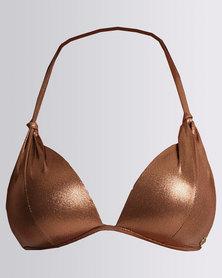 Sissy Boy Bronze Foil Moulded Triangle Bikini Top Bronze