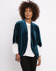 Sitting Pretty Velvet Jacket Teal