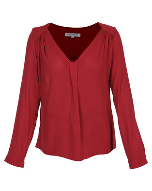 Sitting Pretty KT V-Neck Front Pleat Blouse Maroon