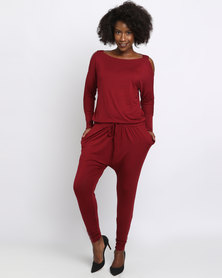 Slick Katerina Cold Shoulder Jumpsuit Red