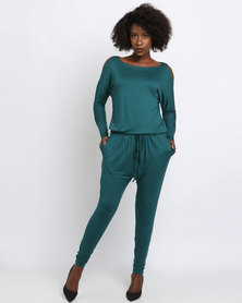 Slick Katerina Cold Shoulder Jumpsuit Green
