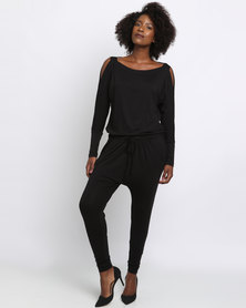 Slick Katerina Cold Shoulder Jumpsuit Black