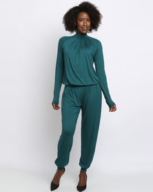 Slick Bianca High Neckline Jumpsuit Green