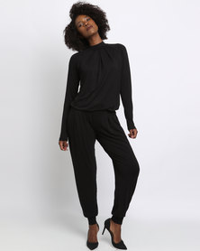 Slick Bianca High Neckline Jumpsuit Black