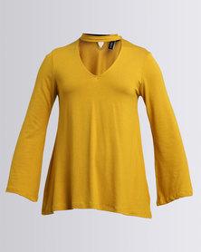 Slick Geena Choker Styled Top Mustard