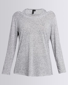 Slick Eugenie Top & Cami In One Grey