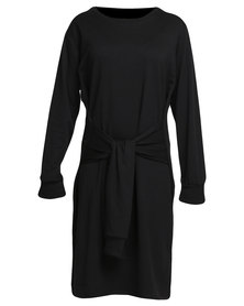 Slick Tie Front Knit Dress Black