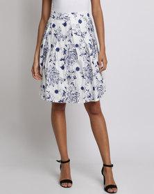 Smashed Lemon Floral Printed Skirt White