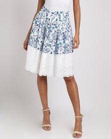 Smashed Lemon Floral Print Skirt White
