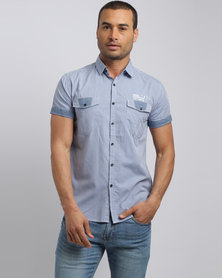Smith & Jones Thornbury Short Sleeve Shirt Blue