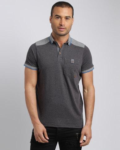 Smith & Jones Menstan Polo T-Shirt Dark Charcoal Marl