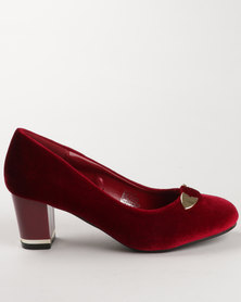 Solle Block Heel Court Shoe Red