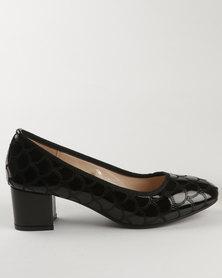Solle Block Heel Court Shoe Black